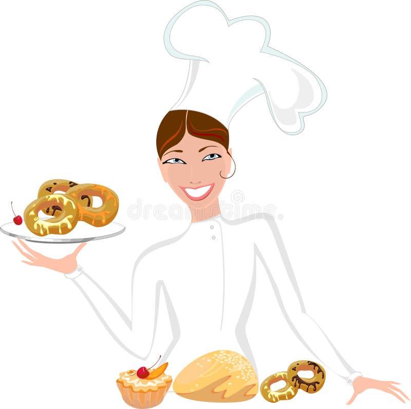 Panadero de sexo femenino con los pasteles dulces stock de ilustración