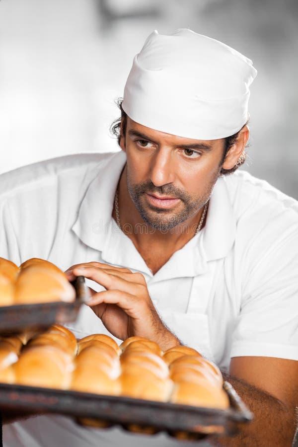 Panadero de sexo masculino Holding Baking Trays en panadería fotografía de archivo libre de regalías