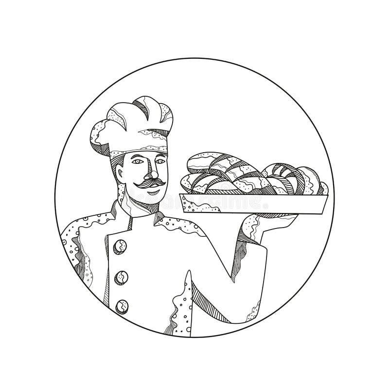 Panadero Holding Bread en arte del garabato de la placa stock de ilustración