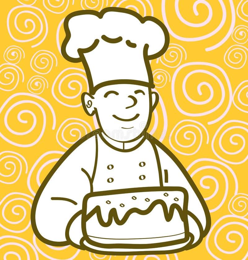 Panadero y torta ilustración del vector