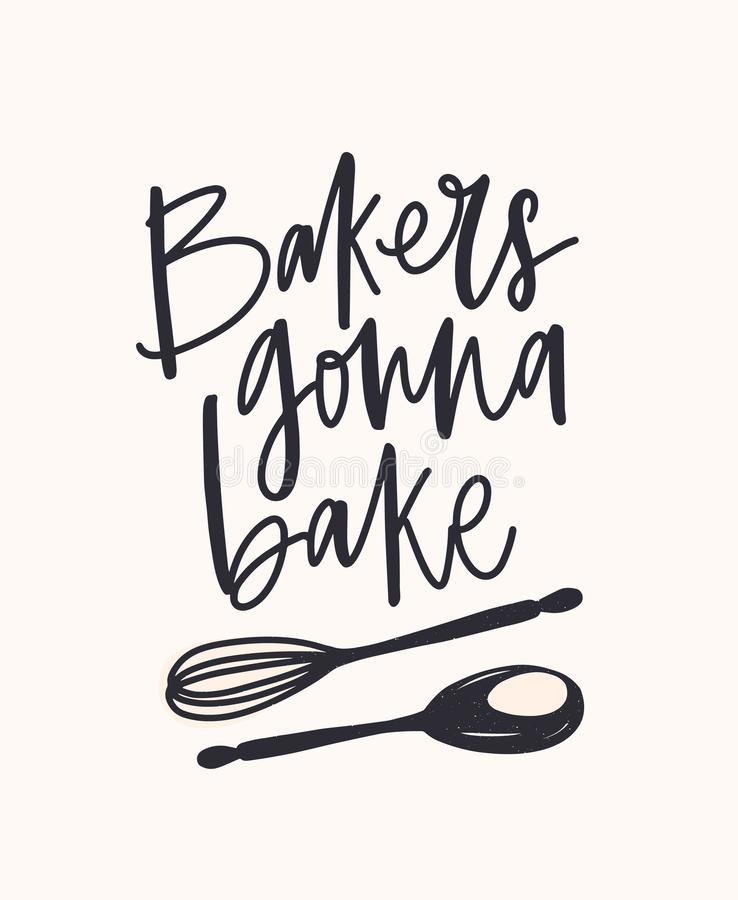 Panaderos que van a cocer el lema manuscrito con la fuente o la escritura caligráfica cursiva y adornado por la cuchara y el bati stock de ilustración