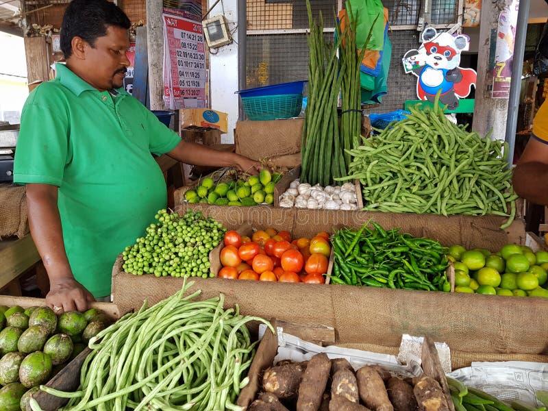 Panadura Sri Lanka - Maj 10, 2018: En man säljer mogna grönsaker i den lokala marknaden arkivfoton