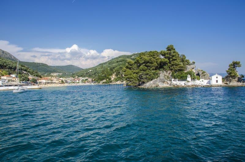 Panagia-Insel in Parga, Griechenland - alte orthodoxe Kirche lizenzfreies stockbild