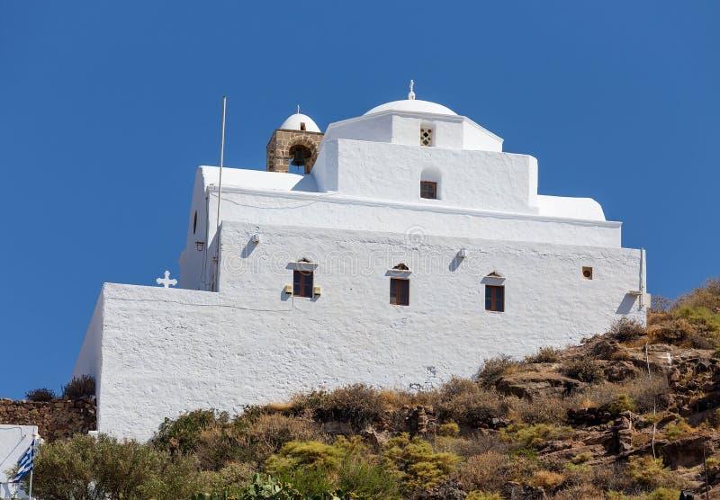 Panagia Thalassitra kyrka, Milos ö, Grekland arkivbild