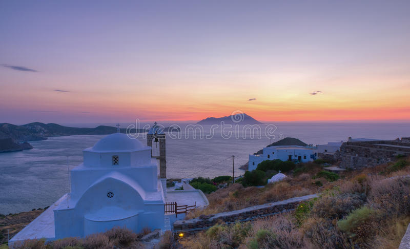 Panagia Thalassitra at sunset, Milos stock images