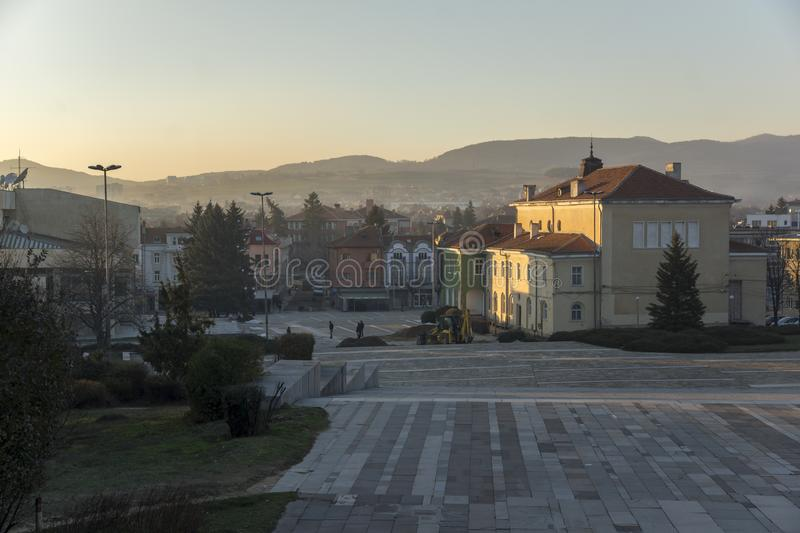 Panoramic view of Central square of Historical town of Panagyurishte, Pazardzhik Regi. PANAGYURISHTE, BULGARIA - DECEMBER 13, 2013: Panoramic view of Central stock photography