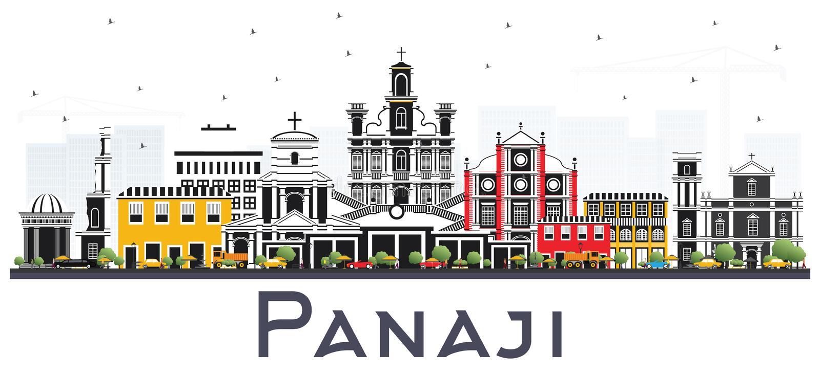 Panaji India City Skyline with Color Buildings Isolated on White. Vector Illustration. Business Travel and Tourism Concept with Historic Architecture. Panaji vector illustration
