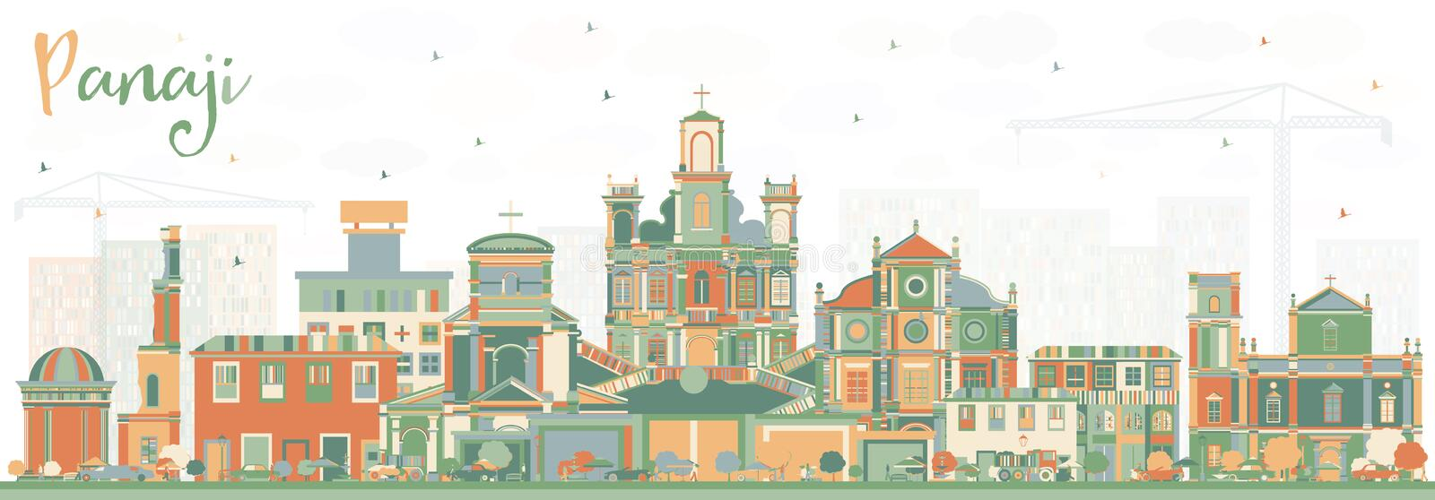 Panaji India City Skyline with Color Buildings. Vector Illustration. Business Travel and Tourism Concept with Historic Architecture. Panaji Cityscape with royalty free illustration