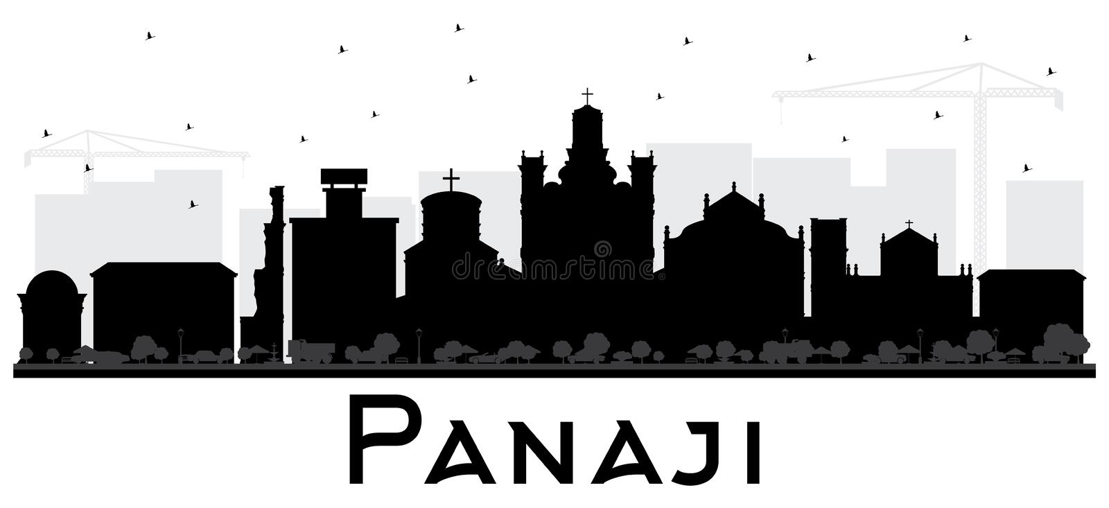 Panaji India City Skyline Silhouette with Black Buildings Isolated on White. Vector Illustration. Business Travel and Tourism Concept with Historic vector illustration