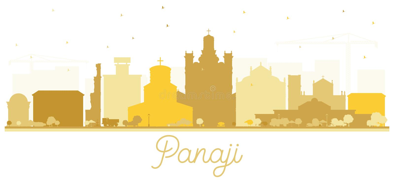 Panaji India City Skyline Silhouette with Golden Buildings Isolated on White vector illustration