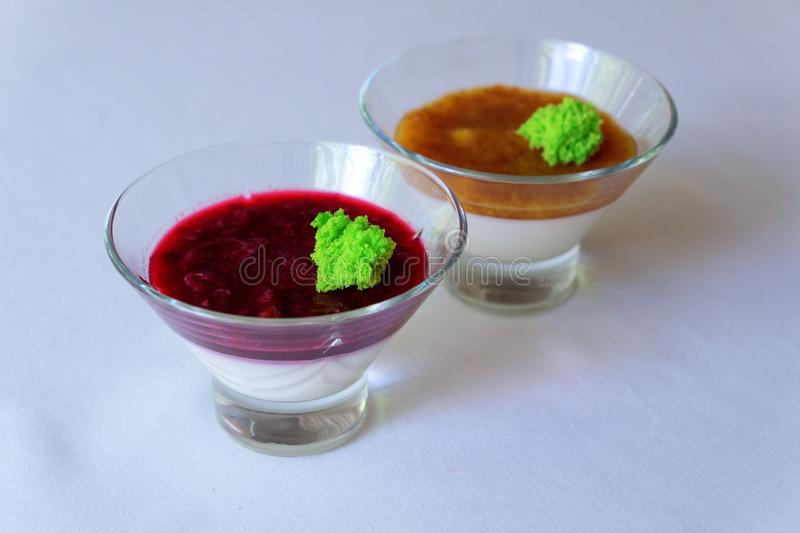 Panakota with berries. apricot in the juice royalty free stock images