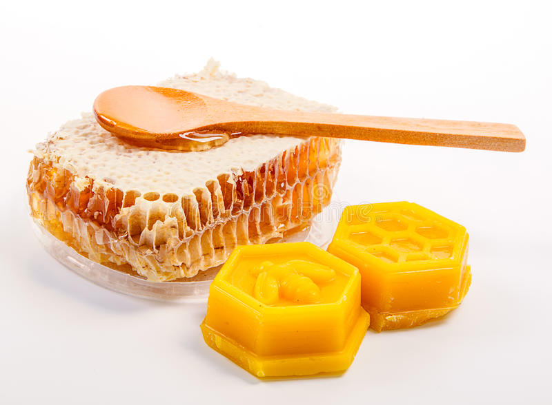 Panal con cera de abejas fotos de archivo libres de regalías