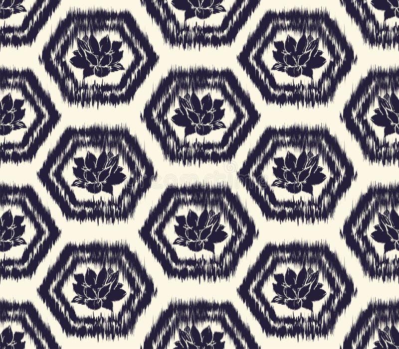 Panal teñido monocromático del efecto o hexágono y fondo del loto inspirado por la armadura japonesa tradicional de la concha del stock de ilustración