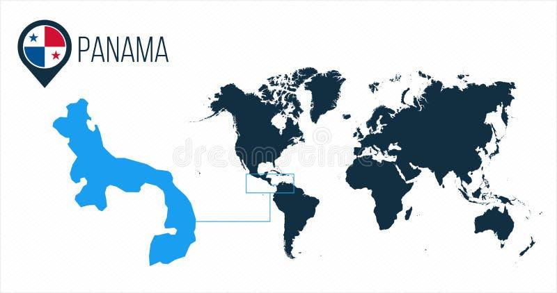 Panama översikt som lokaliseras på en världskarta med flaggan och översiktspekare eller stift Infographic översikt Vektorillustra royaltyfri illustrationer