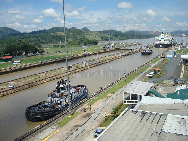 Download Panama canal editorial stock image. Image of boat, buildings - 20623444