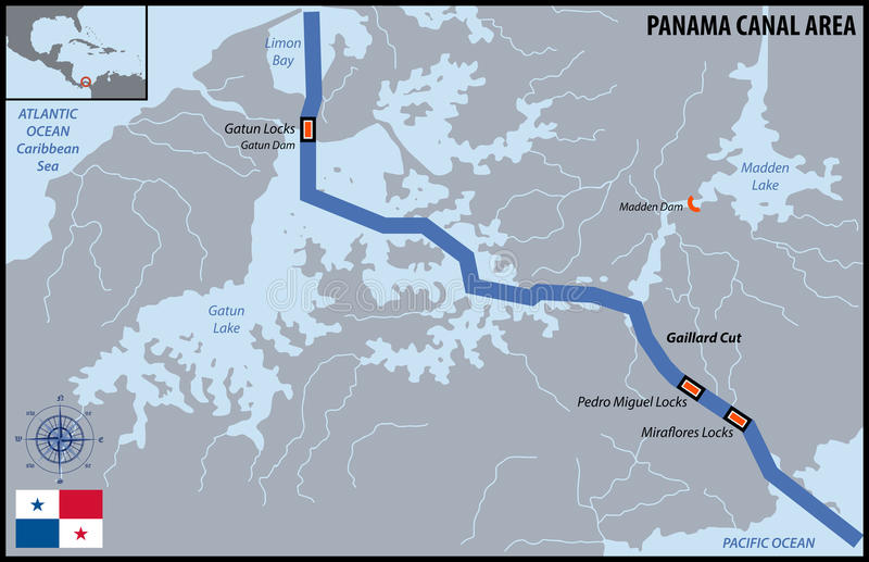 Panama Canal Area. Map of Panama Canal Area royalty free illustration