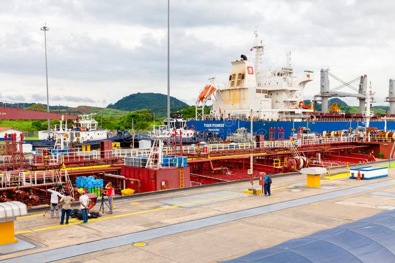 Tv troupe and photographer at Panama canal royalty free stock images