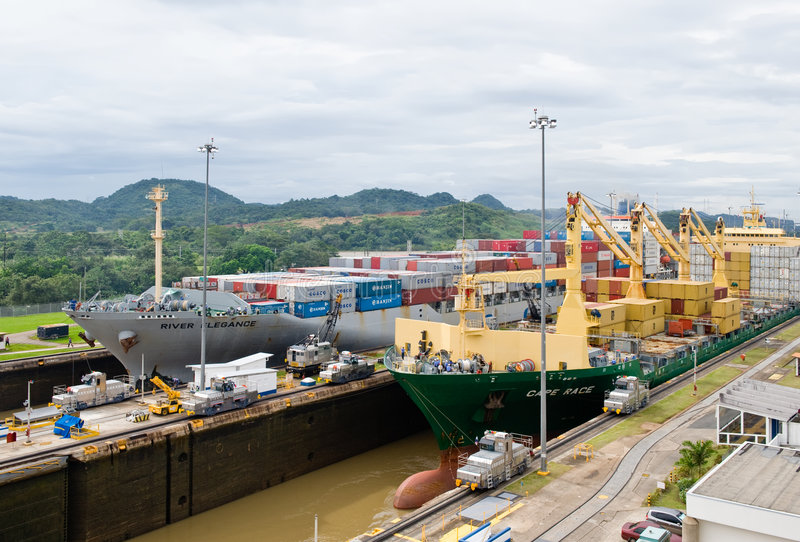 Download Panama Canal Cargo Ships editorial photo. Image of sail - 7895496