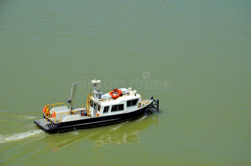 Panama Canal crew boat on the way royalty free stock photos