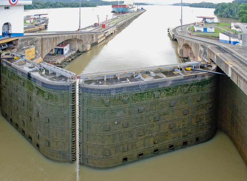 Panama Canal lock gate stock photo