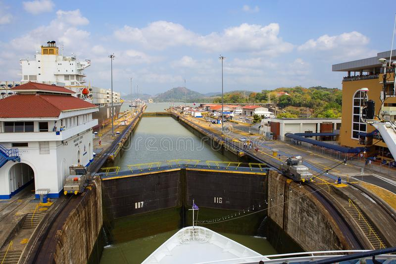 Panama canal, Miraflores Locks. This is the first gateway of the Panama canal from the Pacific ocean. It connects the channel of the main channel with The royalty free stock images