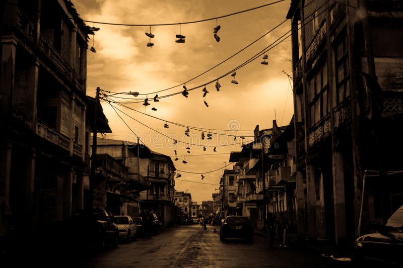 Panama city. A street scene in the old section of Panama City, sepia royalty free stock image