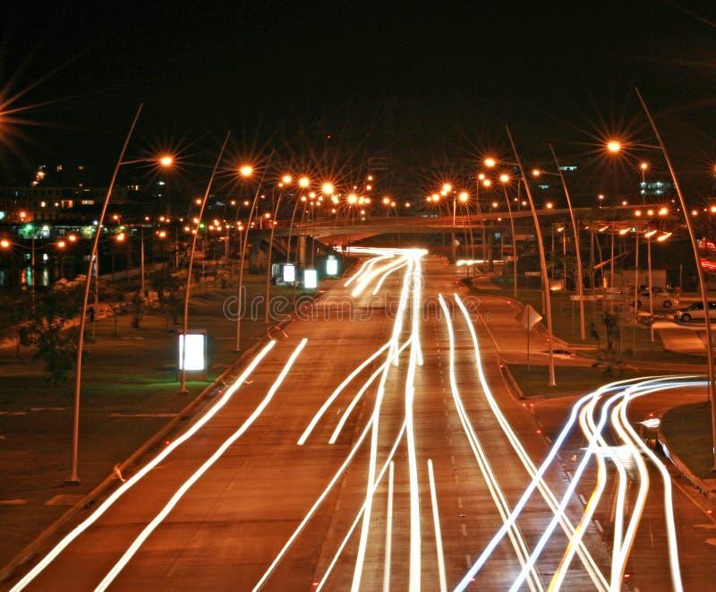 Panama City alla notte fotografie stock libere da diritti