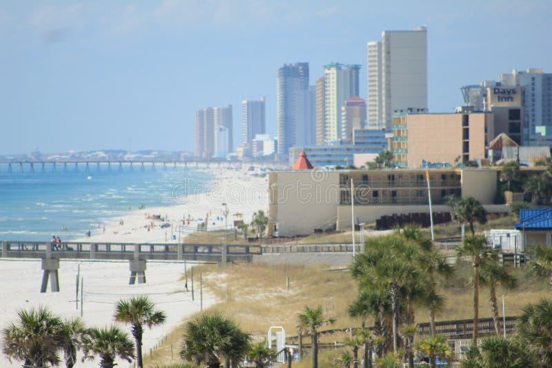 Panama City Beach florida vista skyline grass huts sunset royalty free stock photo