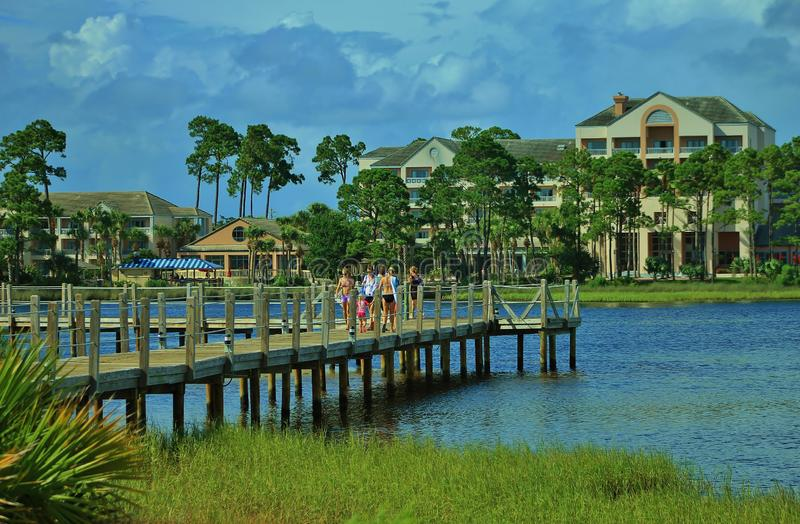Florida Panama City Beach pier lagoon resort stock photos