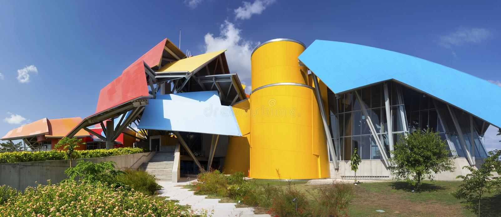 Panama City Biomuseo Museum of Natural History Modern Architecture Building Exterior Panoramic View stock photo