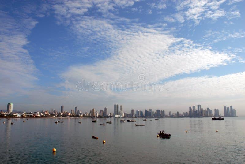 Panama city buildings bay stock photo