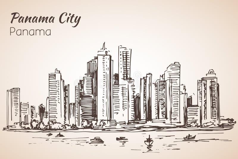 Panama City cityscape skissar panama vektor illustrationer
