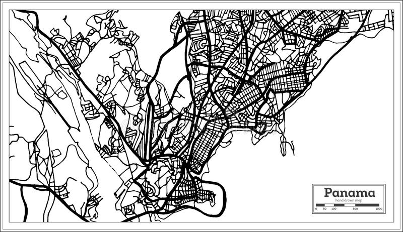 Panama City Map in Black and White Color. vector illustration