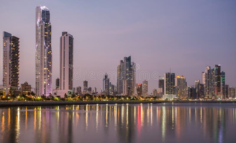 Panama city at night royalty free stock photo