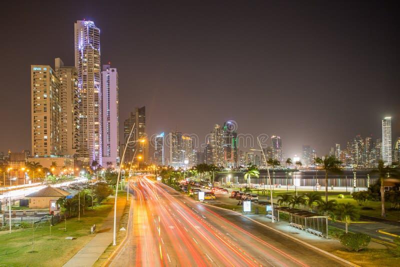Panama city at night. Panama City, city center skyline and Bay of Panama, Panama, Central America royalty free stock images