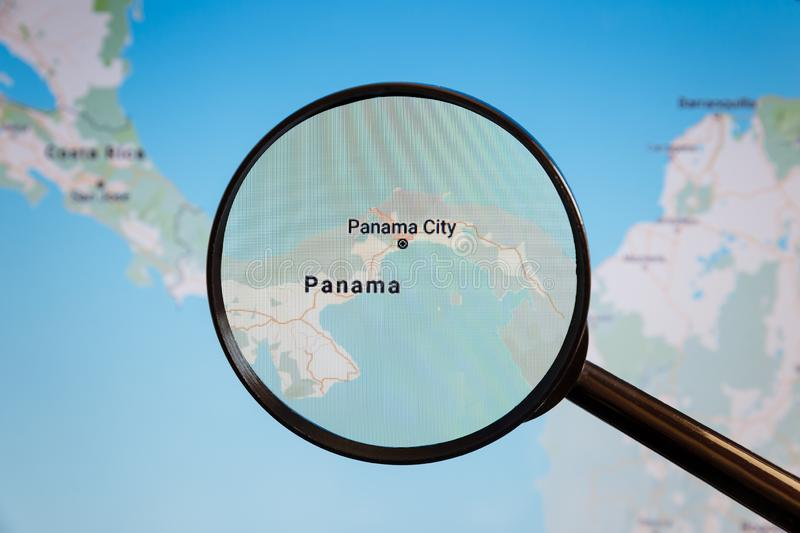 Panama City, Panama. Political map. The city on the monitor screen through a magnifying glass stock image