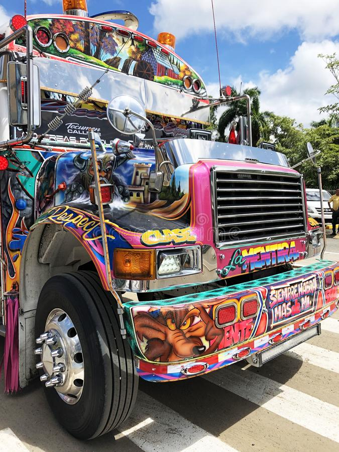 Panama City, Panama - September 01, 2019 - Colorful Devil Bus Diablo Rojo in street of Panama City. Red Devil buses are public stock photo