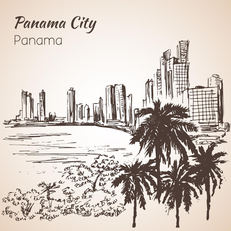 Panama City sityscape skissar panama stock illustrationer