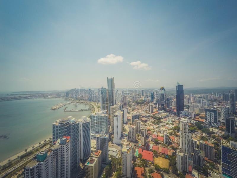 Panama city skyline aerial - modern skyscraper cityscape royalty free stock photo