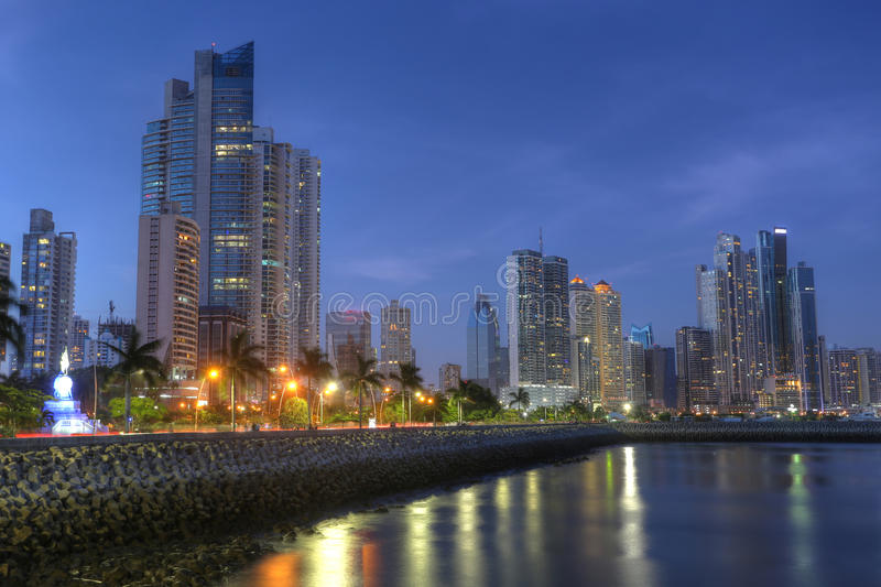 Panama City skyline and Bay of Panama, Central America in the twilight royalty free stock photography