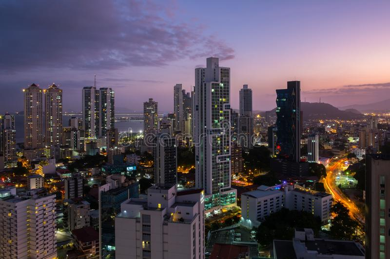 Panama City skyline at night - Modern skyscrapers with sunset sk royalty free stock photos