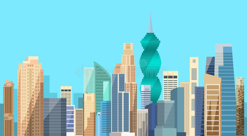Panama City Skyscraper View Cityscape Background Skyline. Flat Vector Illustration royalty free illustration