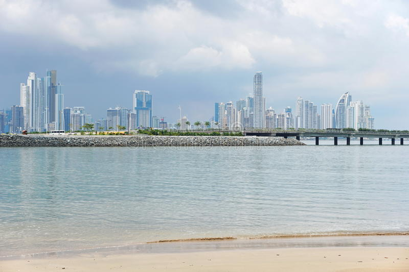 Panama City skyscrapers skyline viewed from beach stock photography
