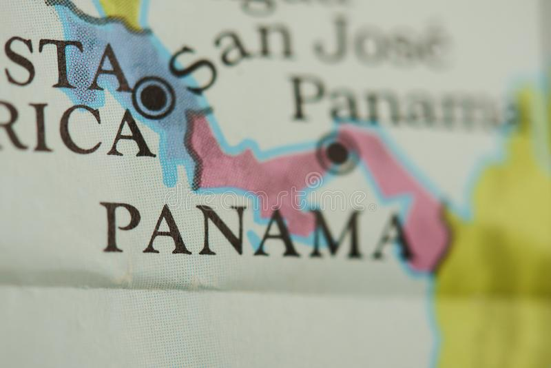 Panama country on paper map. Close up view stock image