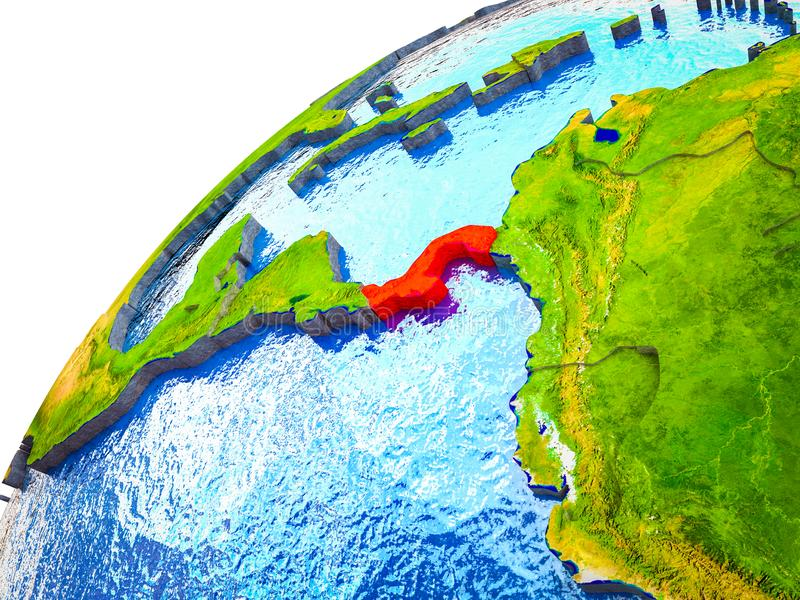 Panama on 3D Earth. Model with visible country borders. 3D illustration royalty free stock photography