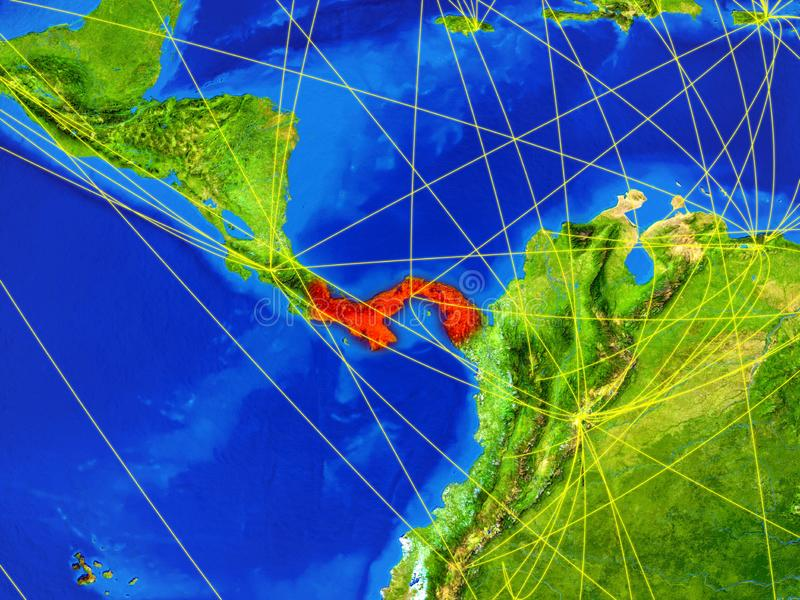 Panama on Earth with network. Panama from space on model of planet Earth with networks. Detailed planet surface with city lights. 3D illustration. Elements of royalty free stock photos