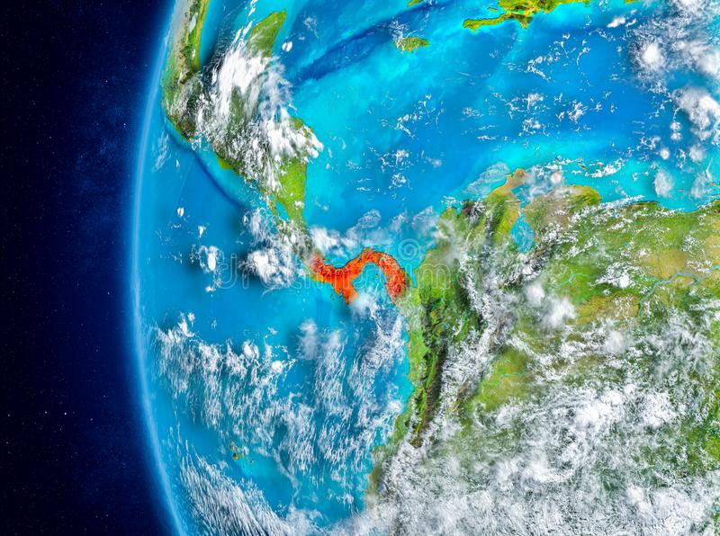 Panama on Earth from space. Map of Panama as seen from space on planet Earth with clouds and atmosphere. 3D illustration. Elements of this image furnished by stock photo