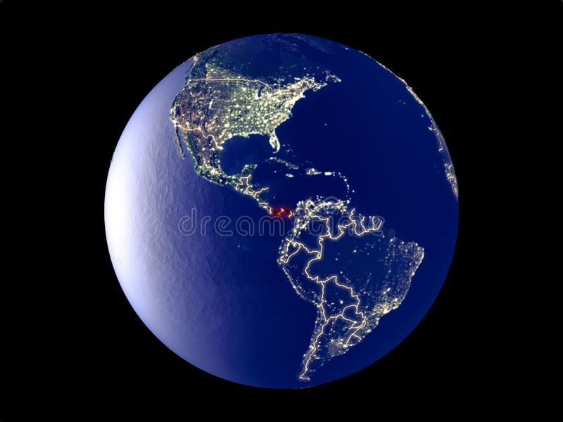 Panama on Earth from space. Panama from space on model of planet Earth with city lights. Very fine detail of the plastic planet surface and cities. 3D stock photography