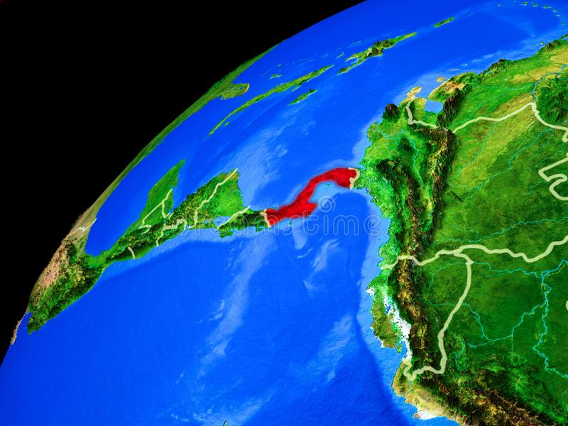 Panama on Earth from space. Panama from space. Planet Earth with country borders and extremely high detail of planet surface. 3D illustration. Elements of this royalty free stock photography