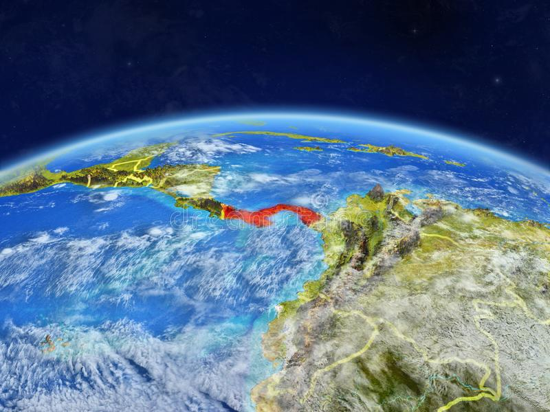 Panama on Earth from space. Panama on planet Earth with country borders and highly detailed planet surface and clouds. 3D illustration. Elements of this image stock photos